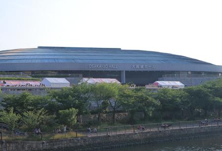 osakajo: Osaka, Japan - 19 June, 2014  People wait for a local concert at Osakajo Hall, multi-purposed arena in Osaka Japan
