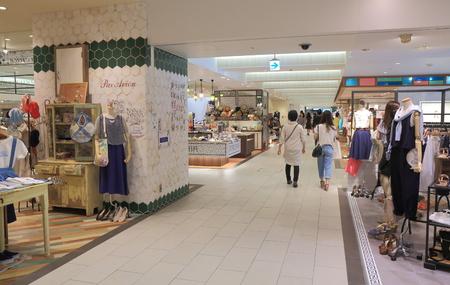 Kanazawa Japan - 14 June, 2014   People shop at Kanazawa Hyakubangai in Kanazawa Japan