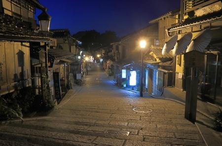 Kyoto Japan - 1 June, 2014  Traditional houses in Ninenzaka street Higashiyama by night in Kyoto Japan