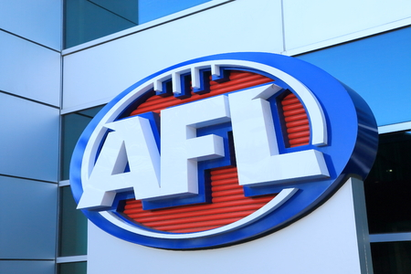 Melbourne Australia - August 23, 2014: AFL Australian football logo 報道画像