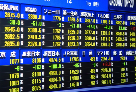 stock prices: Nagoya Japan - September 26, 2014: Japanese Stock market board