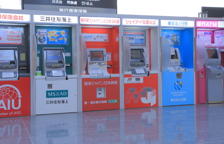 Nagoya Japan - September 27, 2014: Japanese ATM cash machine at Nagoya Centrair airport