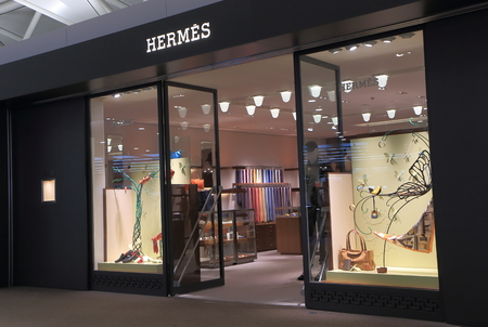 luxury goods: Nagoya Japan - September 27, 2014: Hermes shop, French manufacturer specialising in leather, accessories perfumery and luxury goods.  Editorial