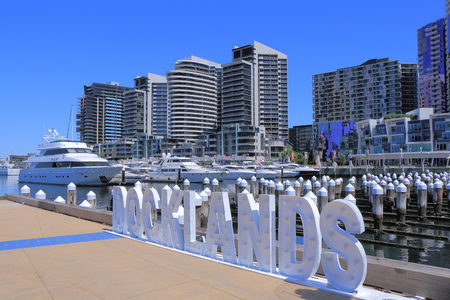 Melbourne Australia - December 13, 2014: Contemporary Docklands cityscape Melbourne Editorial