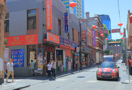 sightsee: Melbourne Australia - December 13, 2014: People sightsee Chinatown Melbourne