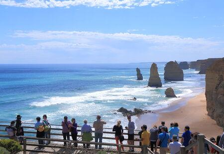 sightsee: Victoria Australia - January 1, 2015:Unidentified people sightsee famous Twelve Apostles in Victoria Australia.