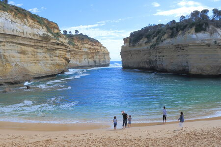 ard: Victoria Australia - January 1, 2015:Unidentified people sightsee beautiful  Loch Ard Gorge in Victoria Australia.