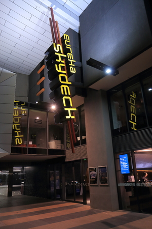 eureka: Melbourne Australia - January 2, 2015: Eureka Tower Sky Deck entrance. One of the tallest residential building in the world.