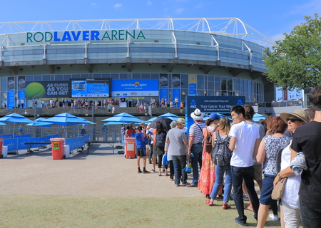 Melbourne Australia - January 23, 2015: People queue at Australian Open tennis entrance.