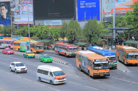 Bangkok Thailand  April 19 2015: Buses at Victory monument bus stop in Bangkok.