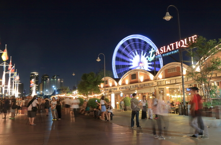 Bangkok Thailand  April 19 2015: Unidentified people sightsee Asiatique shopping complex in Bangkok.
