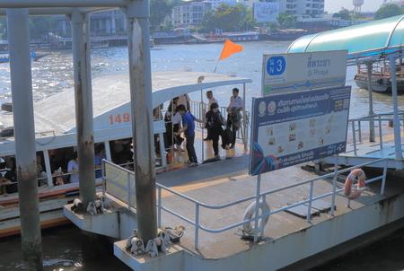 chao phraya: Bangkok Thailand  April 20 2015: Unidentified people travel by river boat in Chao Phraya River in Bangkok.