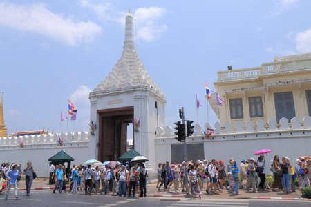 the grand palace: Bangkok Thailand  April 20 2015: Unidentified people queue at entrance of Grand Palace in Bangkok.