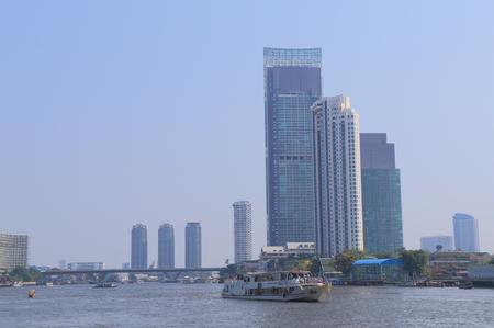 chao phraya: Bangkok Thailand  April 20 2015: River boat taxi in Chao Phraya River in Bangkok.