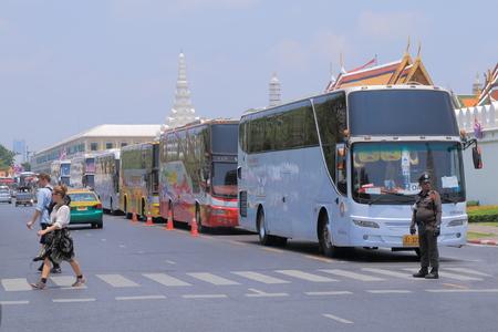 the grand palace: Bangkok Thailand  April 20 2015: Tour buses in front of Grand Palace in Bangkok.
