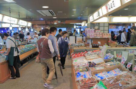 ishikawa: Ishikawa Japan - May 4, 2015: People shop at Shokusai ichiba market in Nanao Ishikawa