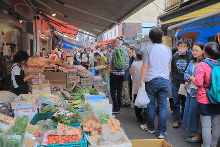 Tokyo Japan - May 9, 2015: People visit Tsukiji fish market in Tokyo.