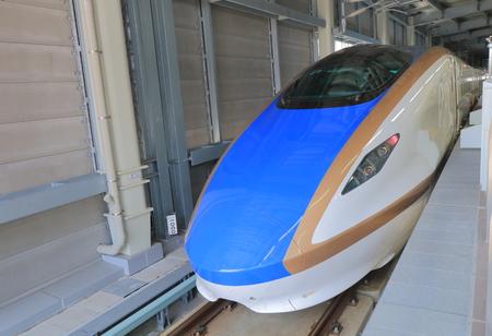 hokuriku: Kanazawa Japan - May 10, 2015: Hokuriku Sinkansen bullet train. Editorial