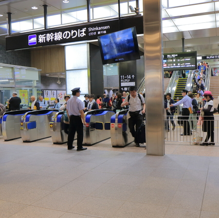 Kanazawa Japan - May 10, 2015: People travel by Sinkansen at Kanazawa station. 新闻类图片