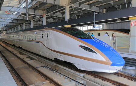 Kanazawa Japan - May 10, 2015: Hokuriku Sinkansen bullet train. Editoriali