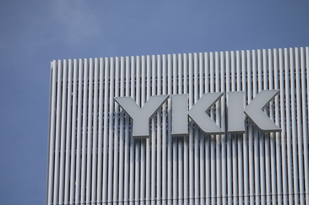 manufacturer: Tokyo Japan - May 22, 2015: YKK, Japanese group of manufacturing companies and the biggest zipper, zip manufacturer in the world.