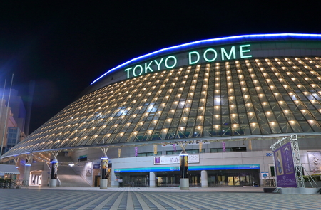 local landmark: Tokyo Japan - May 22, 2015: Tokyo Dorm baseball stadium night view.