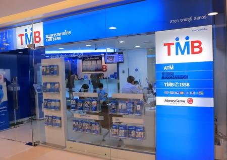 Bangkok Thailand - 22 april 2015: TMB Bank kantoor in Bangkok. Redactioneel