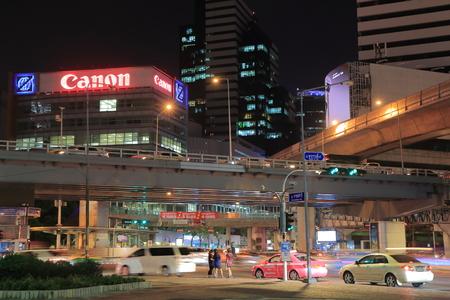 taxi famous building: Bangkok Thailand - April 22, 2015: Bangkok cityscape and traffic.