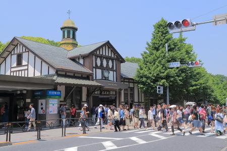 harajuku: Tokyo Japan - May 8, 2015: Busy Harajuku train station in Tokyo Japan.