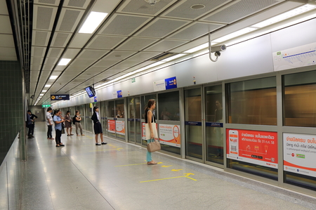 Bangkok Thailand - April 22, 2015:People travel by MRT in Bangkok.