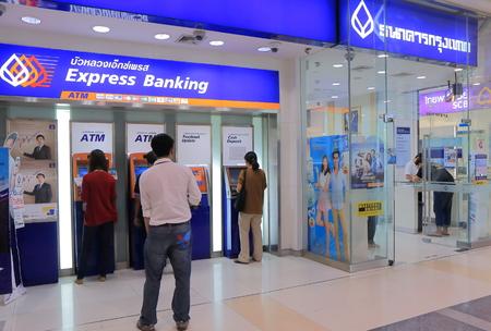 Bangkok Thailand - April 22, 2015: People visit Bangkok Bank in Bangkok.
