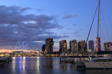 docklands: Melbourne Docklands sunset cityscape Stock Photo