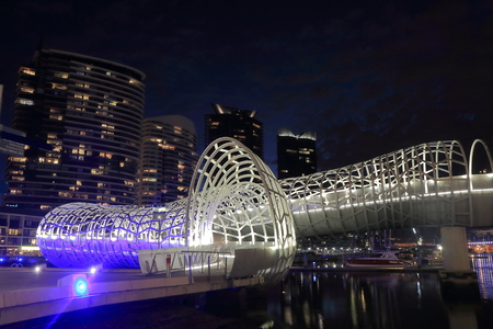 webb: Melbourne Australia - September 12, 2015: Contemporary architecture Webb Bridge light up in Docklands Melbourne.