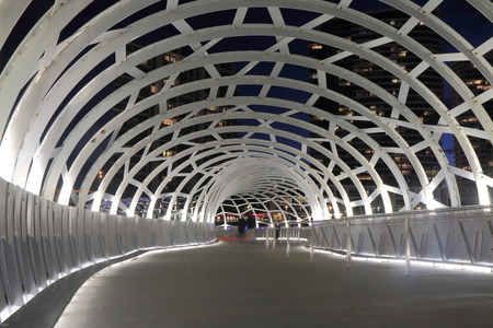 webb: Melbourne Australia - September 12, 2015: Contemporary architecture Webb Bridge light up in Docklands Melbourne.