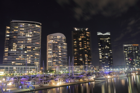 docklands: Melbourne Australia - September 12, 2015: Melbourne Docklands harbour cityscape. Editorial