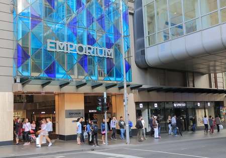 emporium: Melbourne Australia - September 19, 2015: People shop at Emporium Shopping mall in Melbourne Australia Editorial