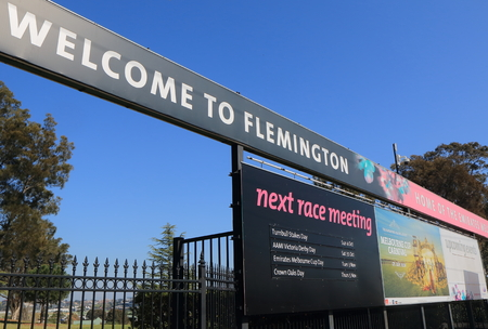 cup: Melbourne Australia - September 19, 2015: Flemington race course displays horse race schedules in Melbourne Australia. Editorial