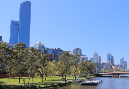 city park skyline: Melbourne waterfront cityscape Australia Editorial