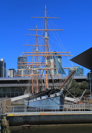 polly: Melbourne Australia - September 26, 2015: Historical sailing ship Polly Woodside at South Wharf Melbourne.