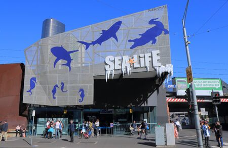 aquarium visit: Melbourne Australia - September 26, 2015: People visit Sea Life Aquarium in Melbourne.