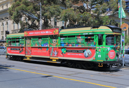 christmas train: Melbourne Australia - December 5, 2015: Christmas design tram in Melbourne - Editorial