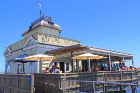 st kilda: Melbourne Australia - December 29, 2015: People visit St Kilda pier in Melbourne.