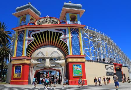 Melbourne Australia - December 29, 2015: People visit Luna Park amusement park.