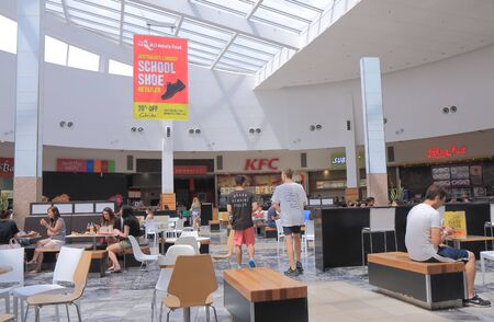 food court: Melbourne Australia - January 1, 2016: People dine at food court High Point shopping mall. Editorial
