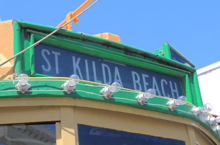 st kilda: St Kilda beach tram Melbourne Australia