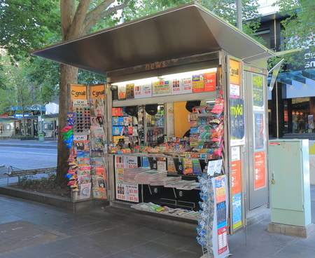 Melbourne Australia - February 13, 2016: News agency kiosk in downtown Melbourne.