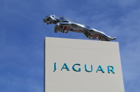 famous industries: Melbourne Australia - March 2, 2016: Jaguar car manufacturer. Luxury vehicle brand of Jaguar Land Rover.