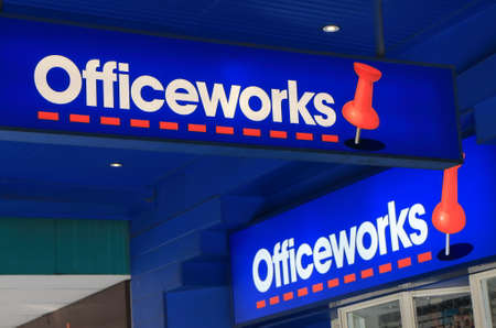 famous industries: Melbourne Australia - July 16, 2016: Officeworks stationery store, a chain of Australian office supplies stores in Australia and the market leader. Editorial
