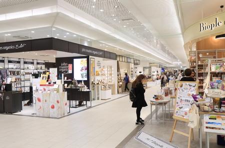 Kanazawa Japan - October 7, 2016: People shop at Hyakubangai shopping mall at Kanazawa train station in Kanazawa Japan.