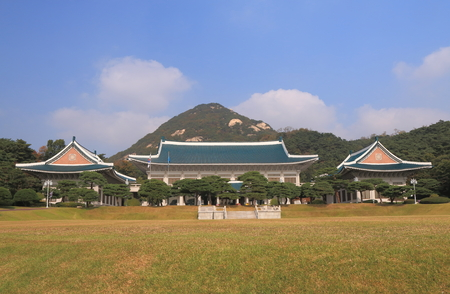 Blue House presidential office. The Blue House is the executive office and official residence of the President of the Republic of Korea 報道画像